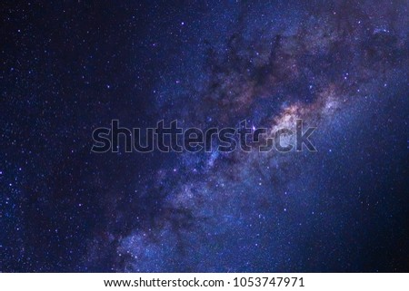 Starry night sky, Milky way galaxy with stars and space dust in the universe, Long exposure photograph, with grain. #1053747971