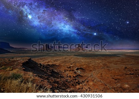 starry night sky over the monument valley #430931506