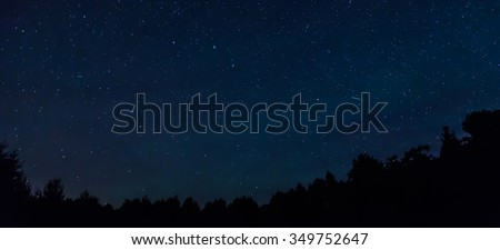 Starry night sky with a shooting star and a treeline in the foreground.  - Shutterstock ID 349752647