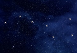 Starry night sky with Ursa Major constellation or the Great Bear and the Big Dipper constellation