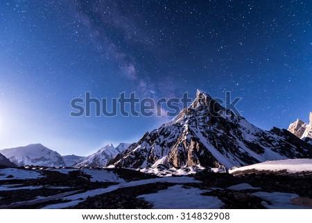 Starry night with Mitre peak at Concordia, Pakistan #314832908