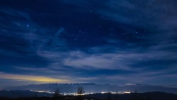 Starry sky and night view from the mountain in the Southern Alps