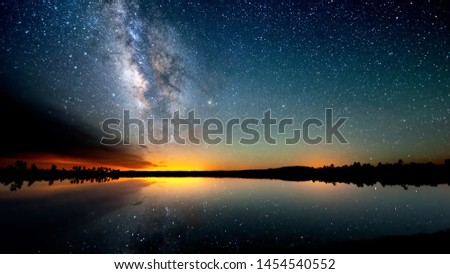 Starry sky and summer meadow with tree. High level of noise #1454540552