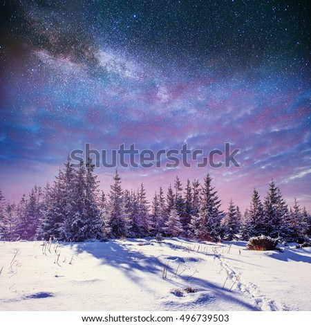 starry sky in winter snowy night. fantastic milky way in the New Year\'s Eve. Starry sky snowy winter night. The Milky Way is a fantastic New Year\'s Eve. Winter road in the mountains