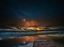 starry sky over Alghero at night, Sardinia
