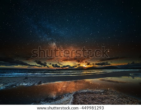 starry sky over Alghero at night, Sardinia