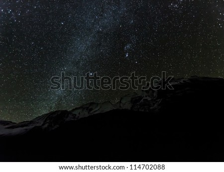 Starry sky over Machhapuchre and ABC - Nepal