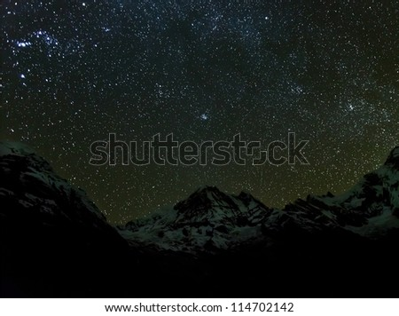 Starry sky over Machhapuchre and ABC - Nepal, Himalayas