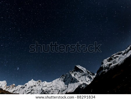 Starry sky over Machhapuchre - Nepal, Himalayas