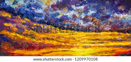Starry sky over the yellow desert impasto art abstract painting - impressionism landscape, expressionism