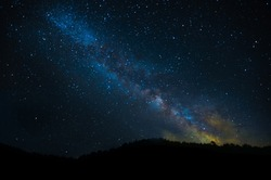 Starry sky, space. Milky Way, starry constellation. Landscape and saver, Astrophotography