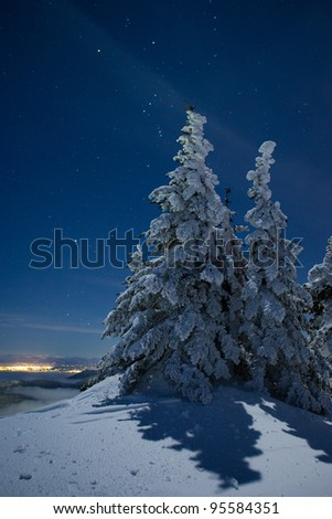 Starry Winter Night on the Peak of a Mountain