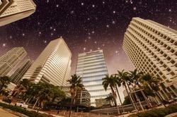 Stars above Miami skyscrapers - Florida