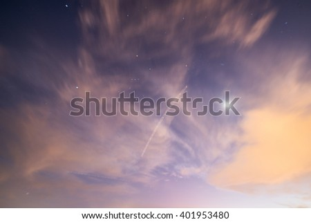 Stars and Airplane flying over Miami #401953480