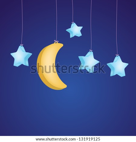 stars and moon as childish background - stock photo