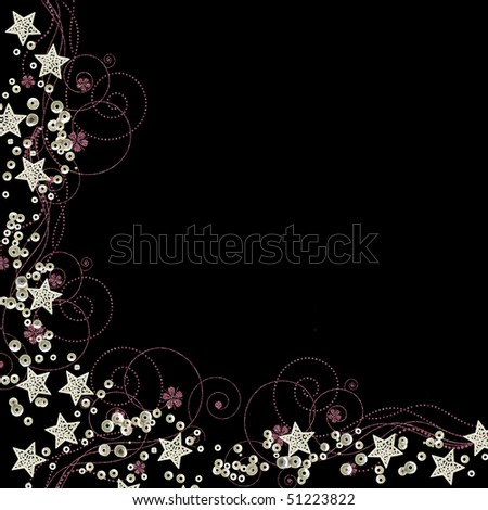 stars and sequins bright border isolated on black background