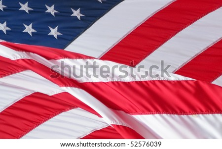 Stars and Stripes American Flag in wind - stock photo