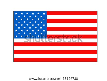 Stars and stripes American flag, isolated on white background.