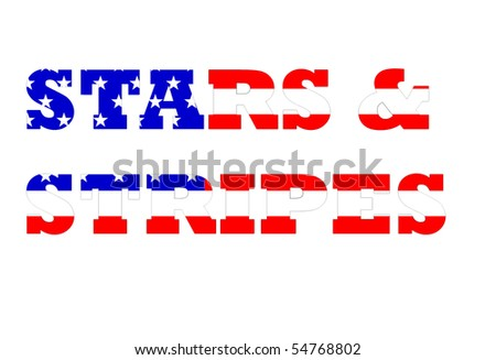 Stars and stripes text on American flag isolated on white background.