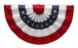 Stars and Stripes USA Pleated Bunting Isolated on White Background.