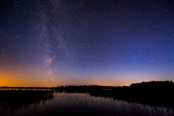 Stars and the Milky Way in the sky over the lake. Image in the blue tones