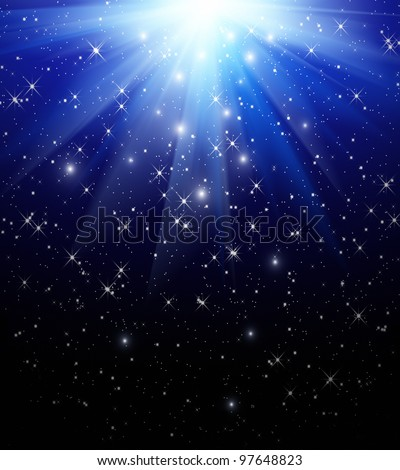 Stars are falling on the background of blue rays