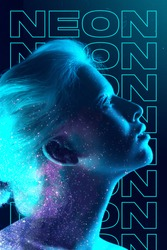 Stars at night. Beauty and fashion concept, trendy neoned poster with beautiful caucasian woman. Trendy neon light and gradient background. Modern design. Contemporary art collage.
