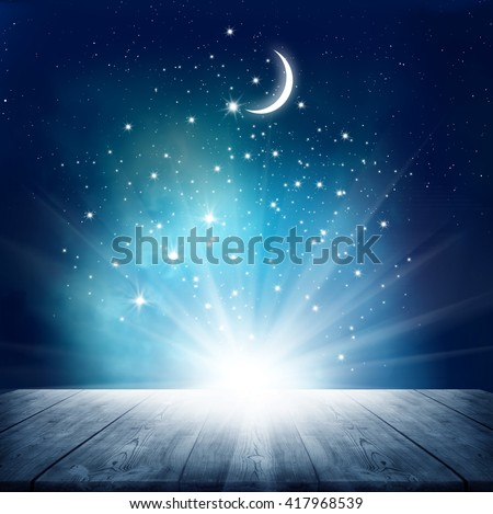 Stars background  with wooden table #417968539