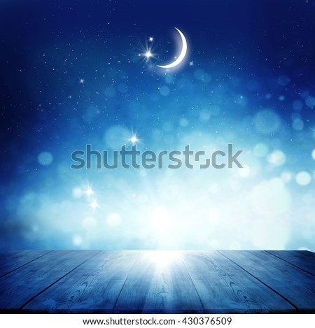 Stars background with wooden table #430376509