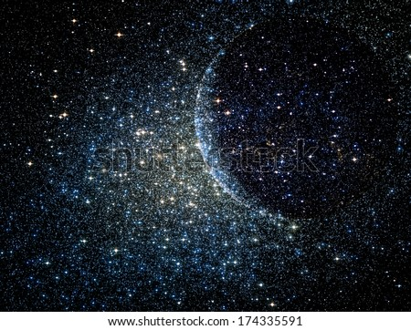 Stars clusters on the background of vast cosmic sphere.\
