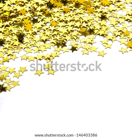 stars confetti , side of the yellow small stars isolated on white background