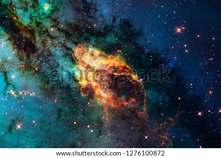 Stars, galaxies and nebulas in awesome cosmic image. Elements of this image furnished by NASA #1276100872