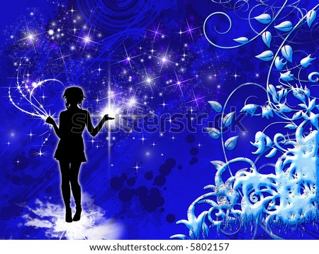 Stars girl- abstract floral design with girl silhouette and stars