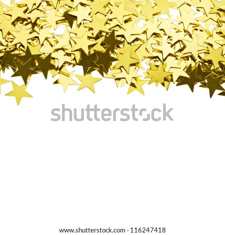stars gold confetti , frame of the yellow brilliant small stars isolated on white background