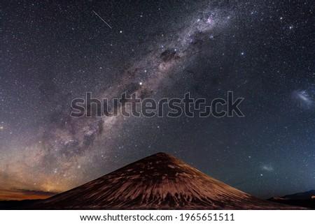 Stars in arizaro desert. Cono de Arita, Tolar Grande,  argentina night sky and Milky Way Stock fotó ©