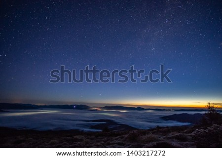 Stars in the sky at dawn in the Carpathians #1403217272