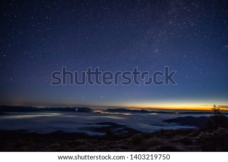 Stars in the sky at dawn in the Carpathians #1403219750