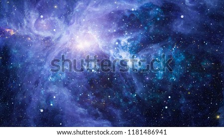 Stars of a planet and galaxy in a free space. Elements of this image furnished by NASA . #1181486941