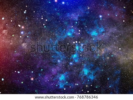 Stars of a planet and galaxy in a free space. Elements of this image furnished by NASA.
