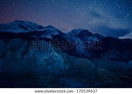 Stock Photo stars over Himalaya mountains