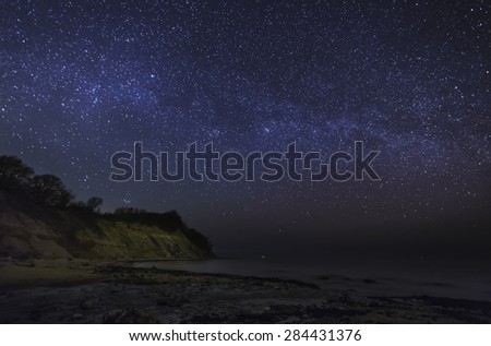 Stars over the sea, the Milky Way over the sea