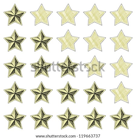 Stars rating. Doodle style. Raster version