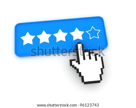 Stars Ratings Button with Cursor - stock photo