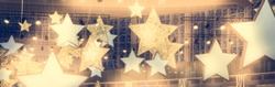 Stars shape show celebrity background  with spotlights soffits   vintage yellow golden colors as stage performance background