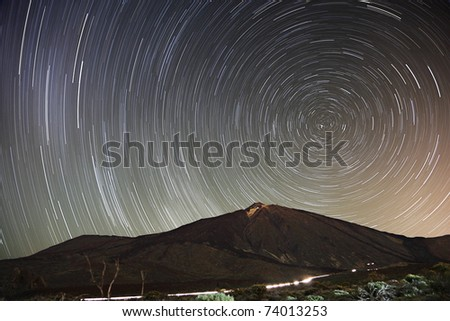 Stars. Star trail night sky on Teide, Tenerife. 65 min long exposure of a remarkable star clear night sky with Teide in the scene. Early Spring.