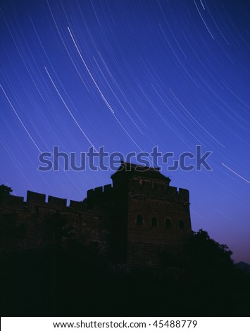 Stars track surrounding the Great Wall in a starry night.