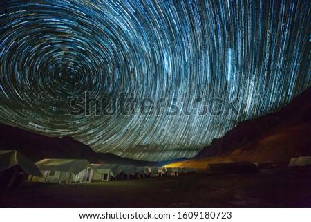 Stars trailing above indian himalaya near sarchu,  india