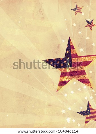 stars with USA flag and rays over old paper background