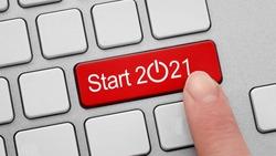 start button. Happy New Year 2021