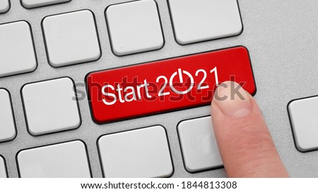 start button. Happy New Year 2021 Foto stock ©